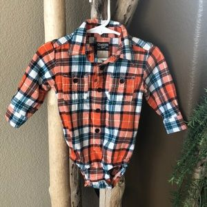 Oshkosh B'gosh 12m  Orange Plaid flannel onesie